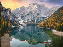 Lago Di Braies Lake And Seekof...