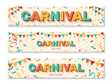 Carnival Horizontal Banners With Typography Design. Vector Illustration. Retro Light Bulbs Font, Streamers, Confetti And Hanging Flag Garlands.