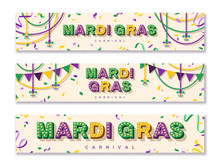 Mardi Gras Horizontal Banner With Typography Design. Vector Illustration With Retro Light Bulbs Font, Streamers, Confetti And Hanging Garlands