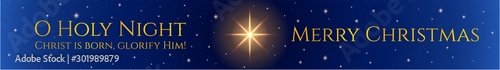 Obraz Christmas background (Merry Christmas holiday banner). Holy night vector illustration. Night sky with Christmas star and starry sky - fototapety do salonu