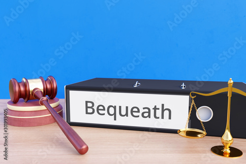 Bequeath – Folder with labeling, gavel and libra – law, judgement, lawyer Canvas Print