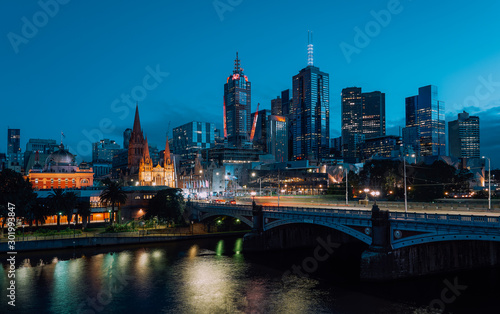Twilight view of beautiful Melbourne cityscape Wallpaper Mural