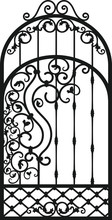 Forged Fence. Gothic Door, Vec...