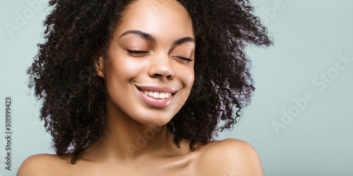 Garden Poster Spa African American skincare models with perfect skin and curly hair. Beauty spa treatment concept. Web banner with copy space