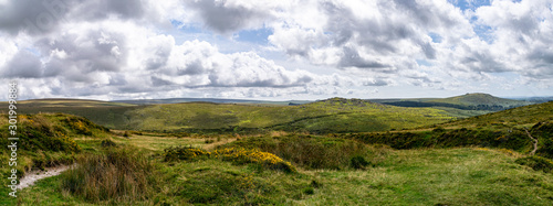 Landscape of Dartmoor National Park in late summer Canvas Print