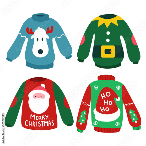 фотография Christmas jumper with reindeer, elf, Santa head and hat vector cartoon set isolated on a white background