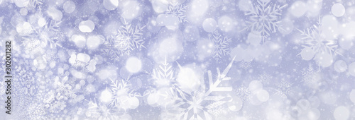 Abstract winter Christmas snow and snowflakes purple sky banner background or ba Canvas Print