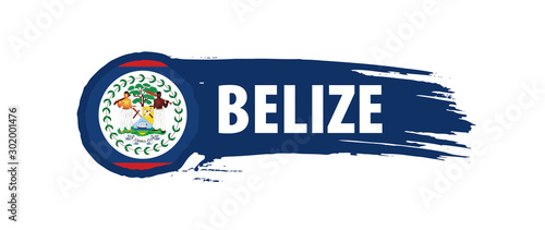 Belize flag, vector illustration on a white background Wallpaper Mural