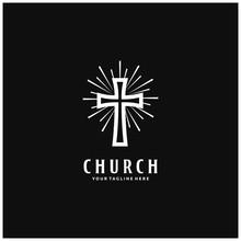 Church Christian Logo Design. Catholic Cross And Sunburst. Vector Illustration