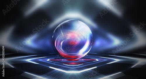 Glass bowl. Abstract futuristic background, neon lines, abstract light, tunnel, corridor. Symmetric reflection, gloss. Transparent ball, circle.