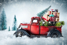 Festive Red Vintage Truck With...
