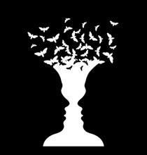 Rubin Vase And Moth, Optical Illusion