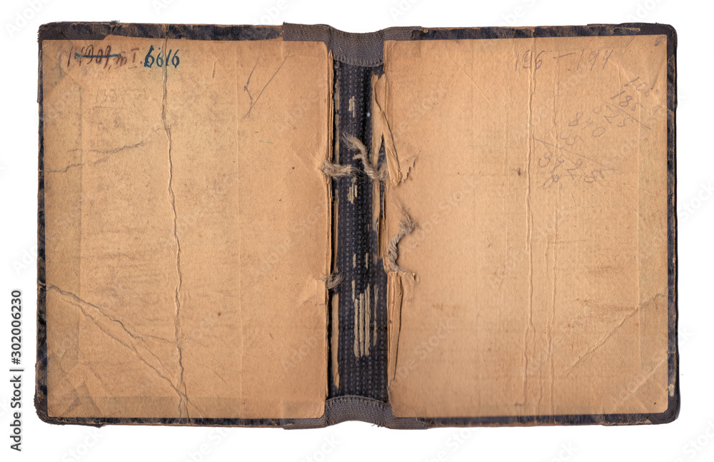 Fototapety, obrazy: Vintage old book cover isolated on white