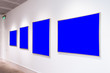 canvas print picture - Modern Art Museum Frames Clipping Path Gallery Chroma Blue Spotlights White Minimalist Look
