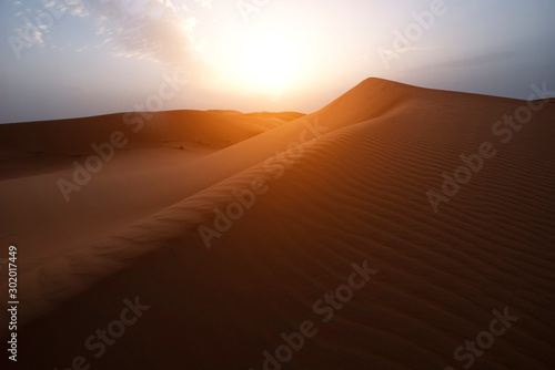 Foto auf Leinwand Schokobraun The beauty of the sand dunes in the Sahara Desert in Morocco. The Sahara Desert is the largest hot desert and one of the harshest environments in the world.