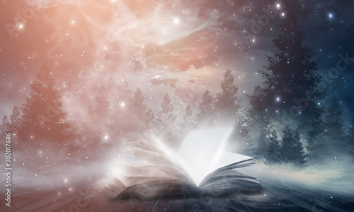 An open book on a wooden table under the night sky against a dark forest Fototapet