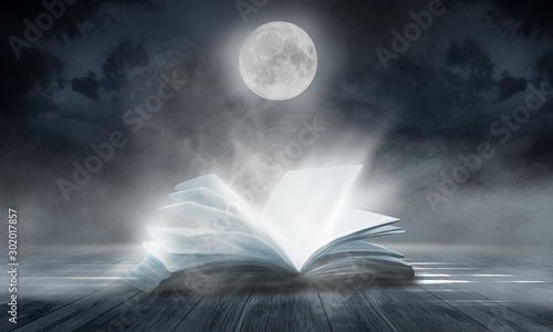 Foto auf AluDibond Grau An open book on a wooden table under the night sky against a dark forest. Magical radiance. Night scene.