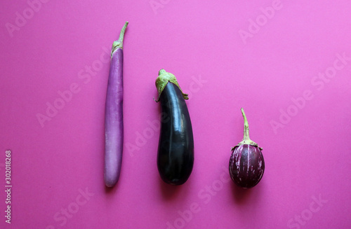Different types of eggplants (aubergine) Wallpaper Mural