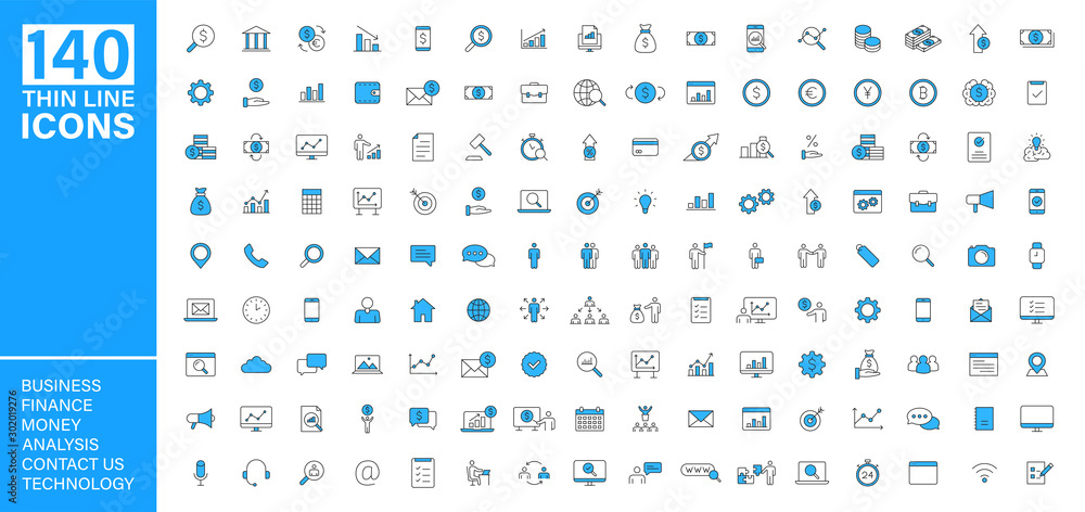 Fototapety, obrazy: Big vector collection of 140 thin line Web icon. Business, contact us, money, analysis, banking, technology, social media. Set icons. Vector illustration.