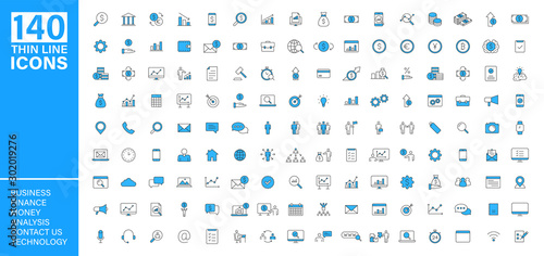 Obraz Big vector collection of 140 thin line Web icon. Business, contact us, money, analysis, banking, technology, social media. Set icons. Vector illustration. - fototapety do salonu