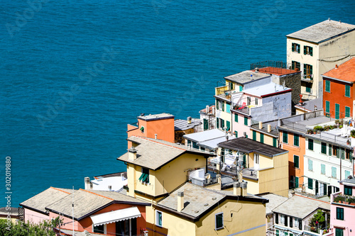 Fototapety, obrazy: coastal view of Cinque Terre, the Riomaggiore village which is a small village in the Liguria region of Italy.