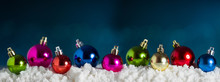 Panoramic Christmas Background. Colorful Christmas Ball In Blue Bokeh Background