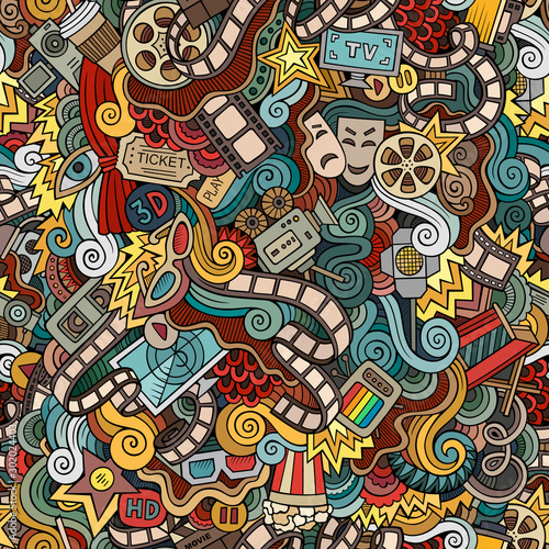 Cartoon cute doodles Cinema seamless pattern Fototapete