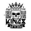 Skull in crown, t-shirt of motorcycle biker club