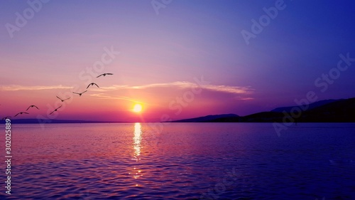 Foto auf Leinwand Hochrote sunset over sea in croatia