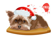 Yorkshire Terrier Dog Sitting On A Wooden Table. Christmas Holiday Vector