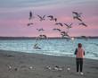 Woman at sea feeding birds