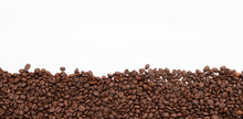 Coffee Beans Border Against White Background