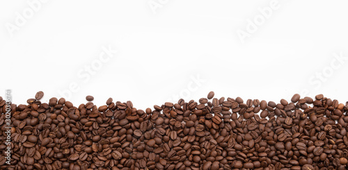Coffee beans border against white background - 302030674