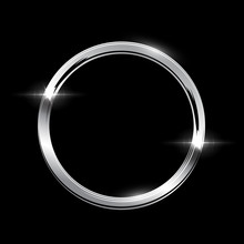 Silver Ring With Shadow Isolated On Black Background. Vector Golden Frame.