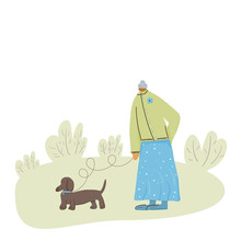Dog Walking. Human Person With Dog. Vector Design.