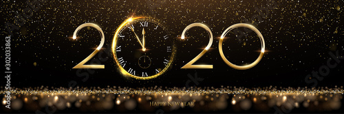 Cuadros en Lienzo  Golden 2020 number with watch vector illustration