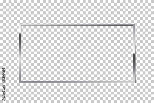 Fotomural  Shiny sparkling silver rectangle on transparent background vector illustration