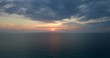 Aerial shot of sunset over the sea , golden hour