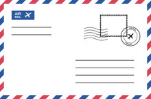 Vintage Air Mail Envelope With Postage Stamp, Postage Card. Vector Graphic Design