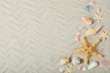Sand, Shells And Starfish Top View With Place For Text. Travel, Sea, Vacation Concept.
