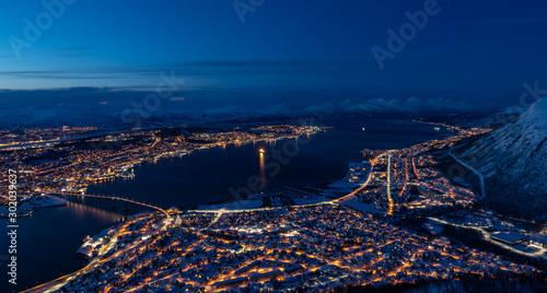 Fotobehang Noord Europa Tromso City by Night