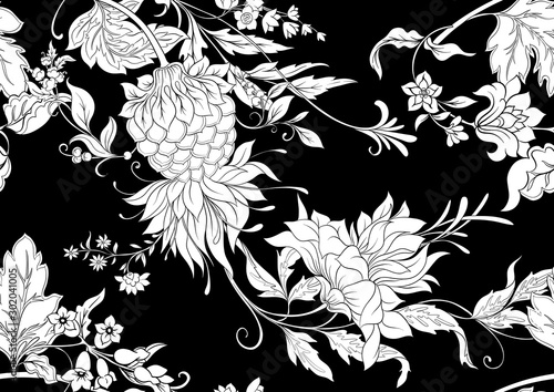 Fantasy flowers in retro, vintage, jacobean embroidery style Fototapet