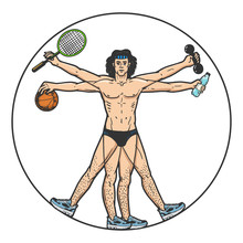 Athlete Vitruvian Man With Sport Items Sketch Engraving Vector Illustration. T-shirt Apparel Print Design. Scratch Board Style Imitation. Black And White Hand Drawn Image.