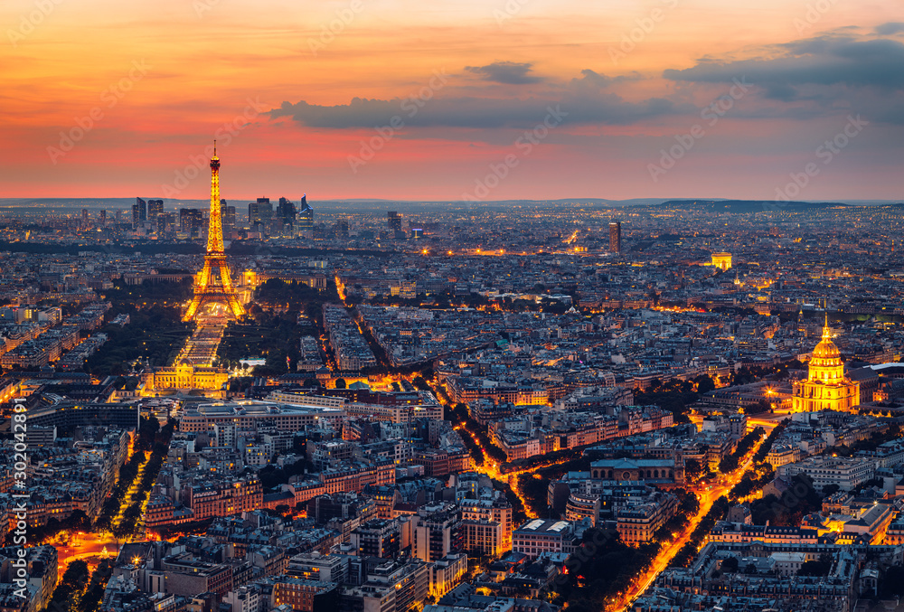 Fototapety, obrazy: Paris Skyline at Night. Paris, France skyline, panorama at night. The view from Montpanasse Tower. Paris skyline by night. With illuminated city, Invalides, and arc de Triomphe. Paris, France.