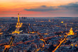 Paris Skyline at Night. Paris, France skyline, panorama at night. The view from Montpanasse Tower. Paris skyline by night. With illuminated city, Invalides, and arc de Triomphe. Paris, France.