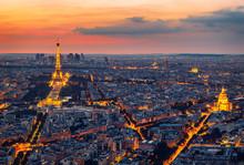 Paris Skyline At Night. Paris,...