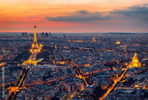 Paris Skyline at Night Wallpaper Mural