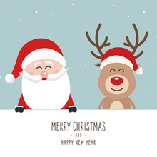 Santa And Reindeer Cute Cartoon With Greeting Behind White Banner Sign Winter Landscape Background. Christmas Card