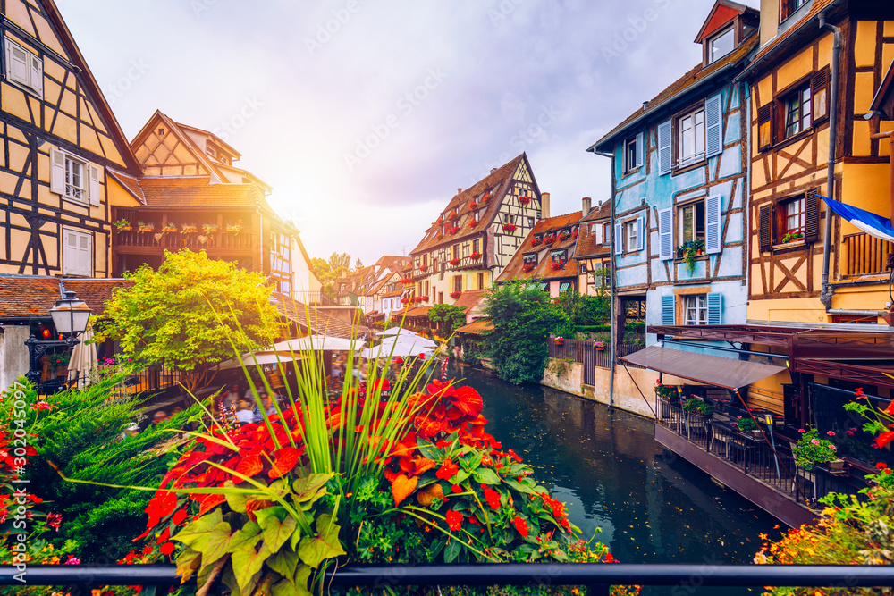 Fototapety, obrazy: Colmar, Alsace, France. Petite Venice, water canal and traditional half timbered houses. Colmar is a charming town in Alsace, France. Beautiful view of colorful romantic city Colmar, France, Alsace.