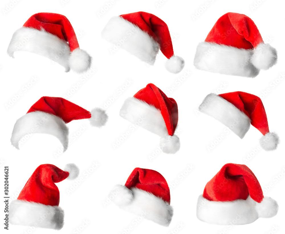 Fototapety, obrazy: Santa Claus red hats
